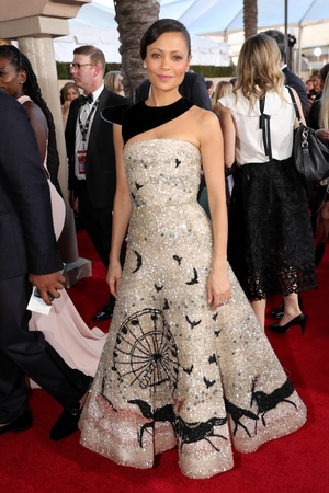 Best: Thandie Newton's Schiaparelli gown brings 'Westworld' to the red carpet. The black neck and skirt detail are amazing.