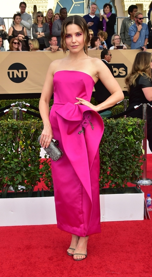 Miss: The beautiful Sophia Bush is hidden in this Marchesa dress which is too billowy at the hip and cropped too short at the ankle.