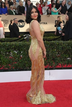 Mmmm: Modern Family star Ariel Winter follows through on the SAGs sheer theme with Mikael D's dress. More is more.