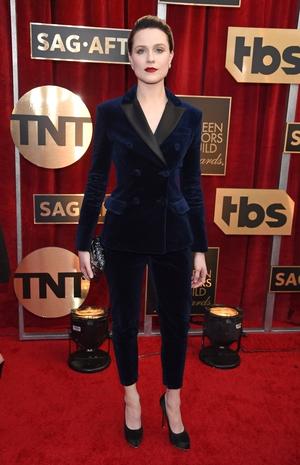 Best: Evan Rachel Wood is making a habit of tuxedo-ing her way down the red carpet. Blue velvet Altuzarro