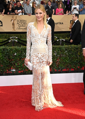 Miss: Modern Family's Claire aka the brill Julie Bowen is this very busy number. Sheer? Tick. White? Tick. On Trend? Miss.
