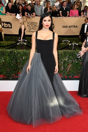 Miss: That's Orange is the New Black actress (Maritza) Diane Guerrero lost in the middle of this Christian Siriano dress.