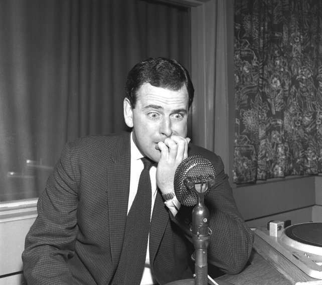Broadcaster Terry Wogan in RTÉ radio studio (1963)