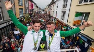 Gary and Paul O'Donovan at their  parade in Skibbereen following their Olympic success