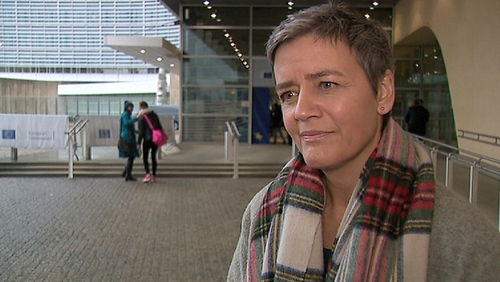 """Today's deal 'will lead to lower prices for European retailers to do business, ultimately to the benefit of all consumers,"""" Europe's competition chief Margrethe Vestager has said"""