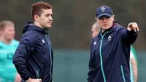Joe Schmidt and Paddy Jackson at Tuesday's training