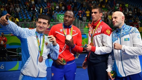 Boxers take a selfie with their medals at the Rio 2016 Olympic Games