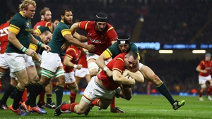 Ken Owens scores for Wales against South Africa in November
