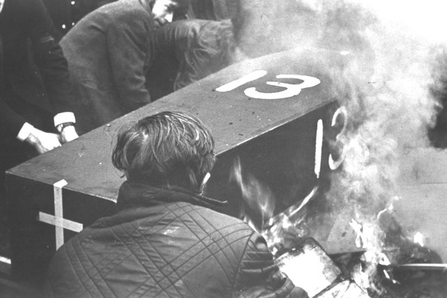 Coffin Burning Outside British Embassy in Dublin in 1972