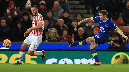 Seamus Coleman's shot was deflected into the Stoke net by Ryan Shawcross