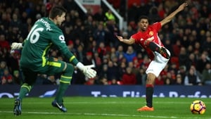 Spot the ball...Marcus Rashford misses a chance to hand Manchester United the lead against Hull