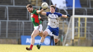 Darren Hughes in action against Seamus O'Shea of Mayo in the League