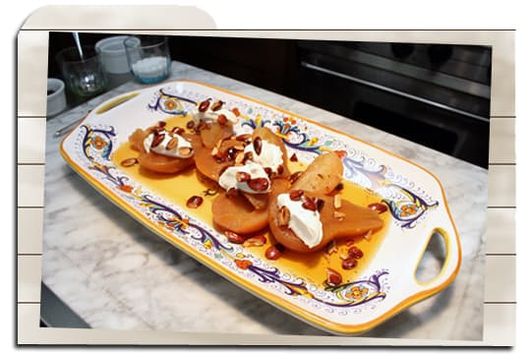 Nevens Recipes - Spiced Poached Pears with Crème Fraîche and Toasted Almonds.