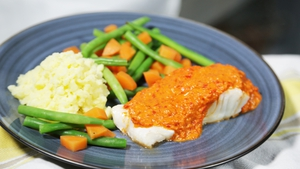 Cod with Roasted Red Pepper Sauce