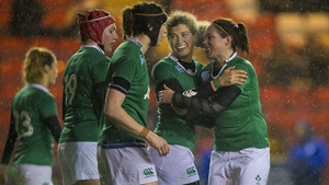 Jenny Murphy celebrates scoring the winning try