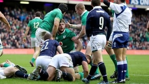Iain Henderson is congratulated after scoring his second half try for Ireland
