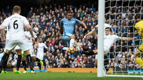 Gabriel Jesus scores the opener for Manchester City