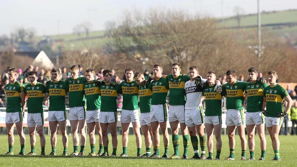 The Kerry team lining out in Letterkenny, ready to take on Donegal