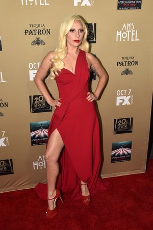 5. Looking like a Greek goddess in her one-shoulder Brandon Mawxell red gown for the 2015 American Horror Story: Hotel Premiere.