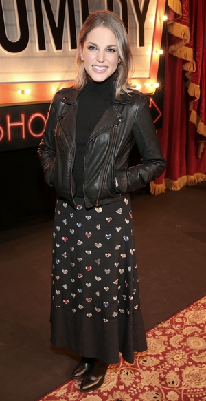Keeping it cool but always stylish with a leather jacket and maxi printed skirt combo at RTÉ Radio 1's Comedy Showhouse in 2016.