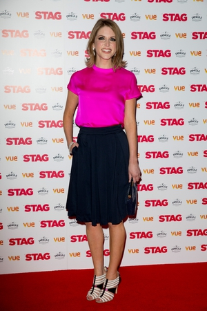 Amy wore a bright pink Lennon Courtney silk top and a fab black skirt at the  'Stag' Premiere in London in 2014.