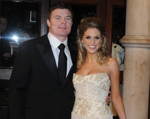 Princess Amy in a Joanne Hynes dress with husband Brian O'Driscoll at the Irish Film Television Awards in 2008.