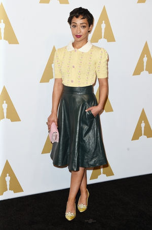 Ruth attended the Oscars nominees luncheon in a fifties-inspired Miu Miu. She looks like a modern pin-up!