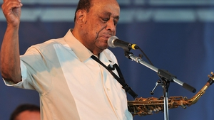 Lou Donaldson performs at the Newport Jazz Festival, August 2015. The legendary saxophonists's work has been sampled by Kanye West and Mary J Blige.
