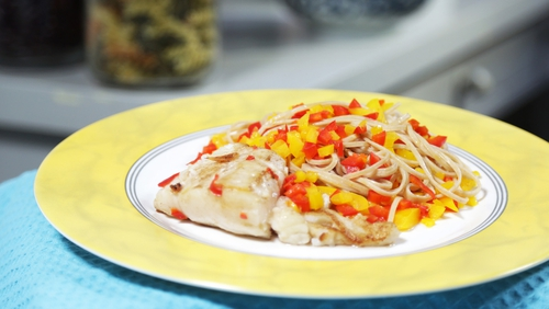 OT: Chilli lime cod with wholewheat noodles
