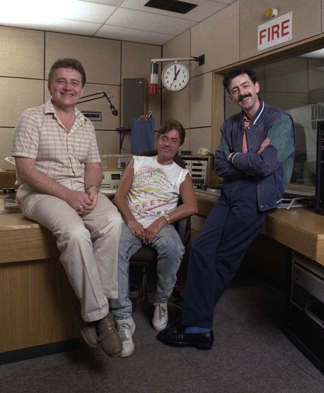 2FM DJs Larry Gogan, Jimmy Greeley and Mark Cagney (1987)