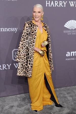 Model Maye Musk is giving us goals. Pologeorgis coat, Mahanz jewellery, Giuseppe Zanottishoes shoes and check out those gloves!