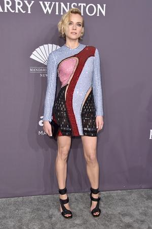 Actress Diane Kruger rocked a geometrical Versace.