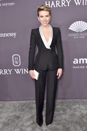 Honoree Scarlett Johansson wore a custom made Atelier Versace tuxedo.