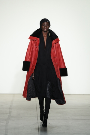 Thursday Day 1: Black and red are the perfect combo for American brand Nicholas K, as we can see with this fab leather coat.