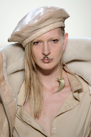 Thursday Day 1: Nicholas K brought a funky look to its chic collection by adding some heavy nose rings. Ouch.