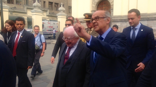 President Michael D Higgins pictured in Lima with Peru's minister for foreign affairs