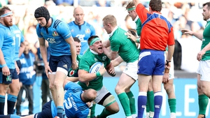 Try scorer CJ Stander is congratulated by team-mates