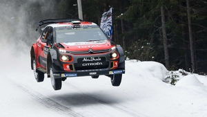 Craig Breen's Citroen soars at Rally Sweden