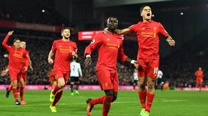 Sadio Mane celebrates his second goal at Anfield