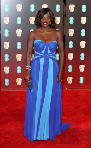 Best: Viola Davis is beautiful in this blue Jenny Packham gown. We love this striped, flowing, strapless dress.