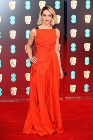 Mmm: Downton Abbey's Jessica Brown Findlay is wearing a Bottega Veneta dress that looks ten times too big for her but...