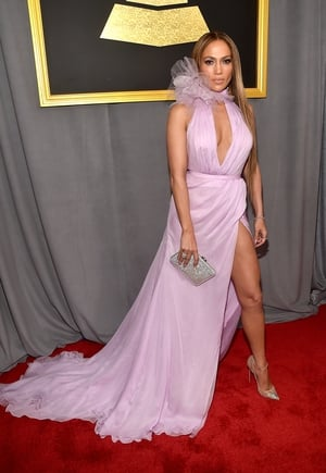 Mmmm: Jennifer Lopez's Ralph & Russo dress ain't very Grammys but she does look fab plus her Louboutins and clutch are gorgeous.