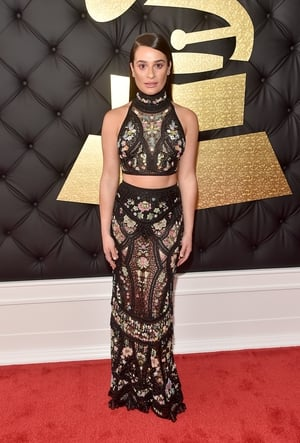 Mmmm: This is a first for us - absolutely loving the Cavalli Couture crop-top combo but Lea Michele herself looks miserable.