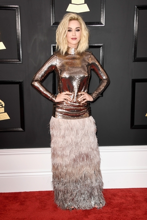 Miss: Katy Perry is rockin' the blonde bombshell look so its a pity that this Tom Ford dress is taking away from that.