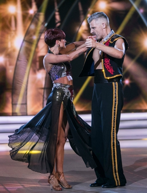 Week 6: Des Bishop's final dance was set to a dramatic paso doble. The comedian's cape and matador trousers were an impressive sight!