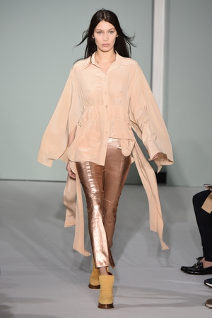 Sunday Day 4: Bella worked it on Sies Marjan's catwalk wearing nude and rose gold.