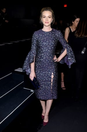 Sunday Day 4: Former Gossip Girl star Leighton Meester refreshing in a shiny purple dress at the Prabal Gurung fashion show.