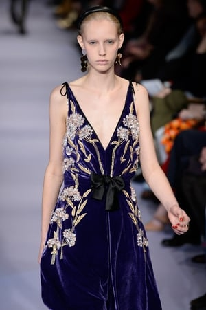 Sunday Day 4: A really romantic look from Altuzarra, we love the purple velvet and embroidered floral detail.