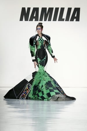 Sunday Day 4: The Namilia fashion show was as outrageous as expected! We had to keep our picks modest, this dress wasn't the wildest by far!