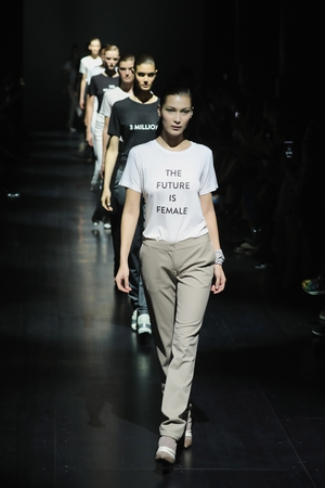 Sunday Day 4: Bella Hadid leading an army of models in statement tees by Prabal Gurung.